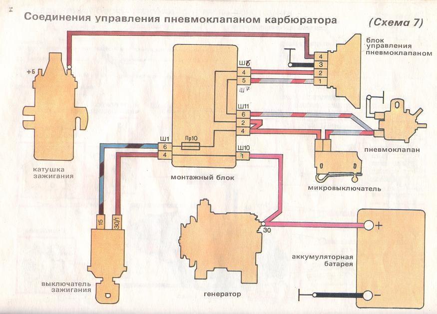 Схема соединения управления пневмоклапаном карбюратора ваз 2107