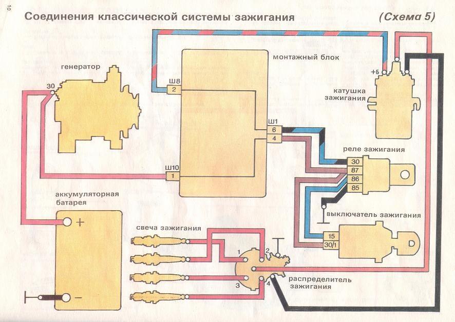 Схема соединения классической системы зажигания ваз 2107