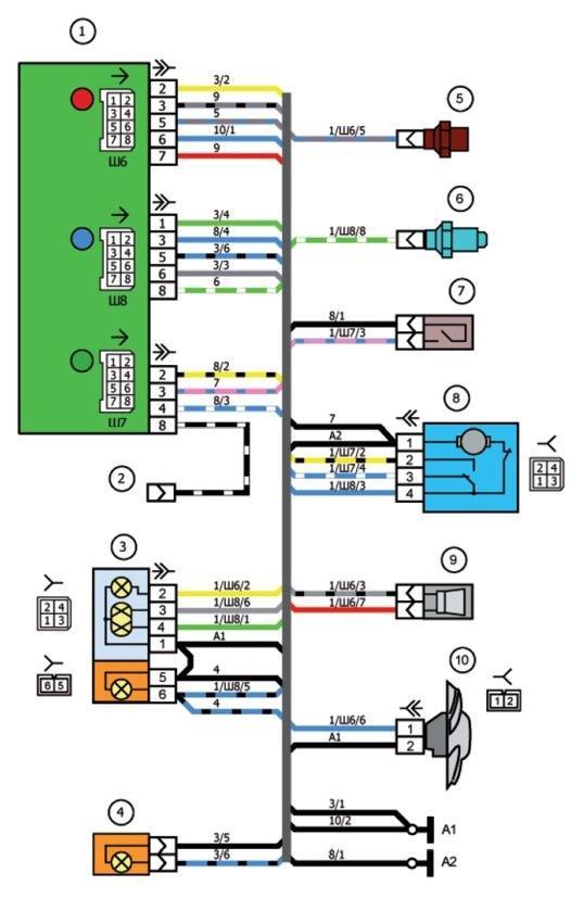 Схема соединения жгута проводов левого брызговика ваз 2107i