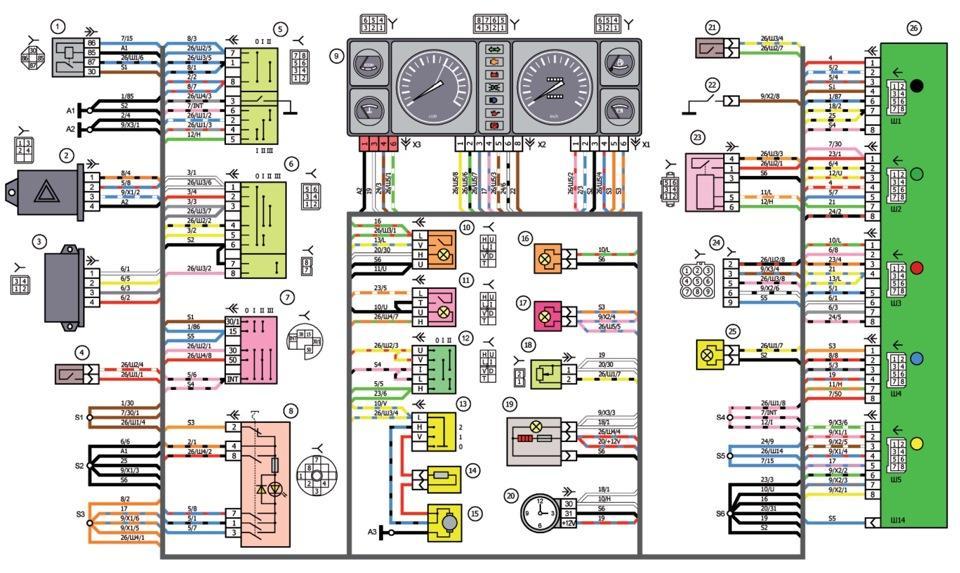 Схема соединения панели приборов ваз 2107i