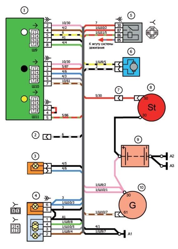 Схема соединения жгута проводов правого брызговика ваз 2107i